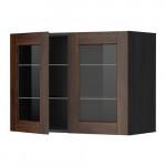 МЕТОД Навесной шкаф с полками/2 стекл дв - 80x60 см, Эдсерум под дерево коричневый, под дерево черный