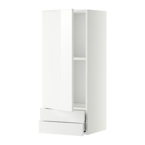 МЕТОД / МАКСИМЕРА Навесной шкаф с дверцей/2 ящика - 40x100 см, Рингульт глянцевый белый, белый