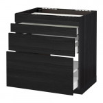 METHOD / MAXIMER Nap oven cabinet / 4 facade / 3 drawer - for wood black, Thingsried for wood black, 80x60 cm