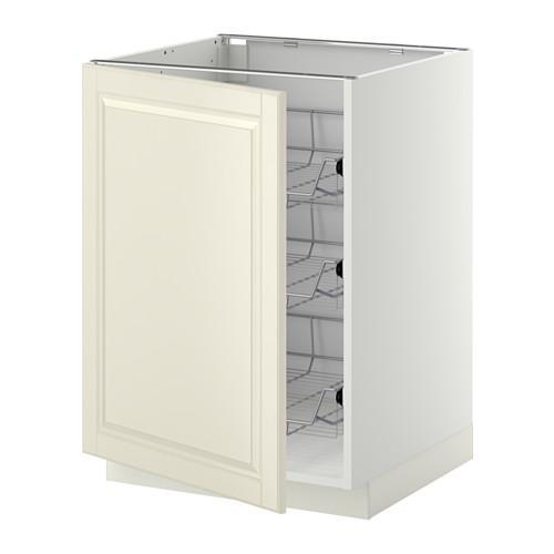 МЕТОД Напольный шкаф с проволочн ящиками - 60x60 см, Будбин белый с оттенком, белый