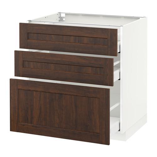 МЕТОД / МАКСИМЕРА Напольный шкаф с 3 ящиками - 80x60 см, Эдсерум под дерево коричневый, белый
