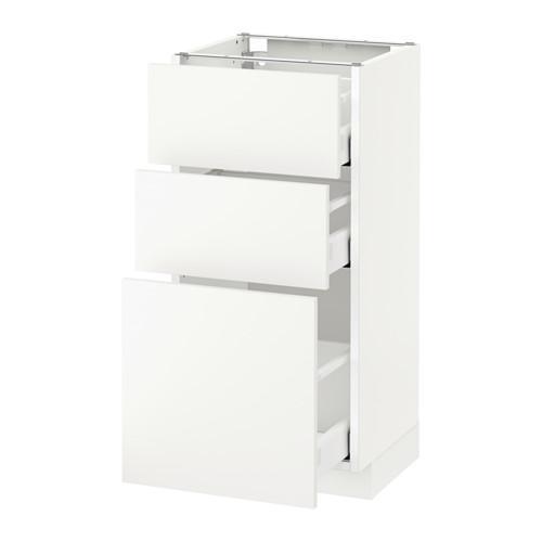 МЕТОД / МАКСИМЕРА Напольный шкаф с 3 ящиками - 40x37 см, Хэггеби белый, белый