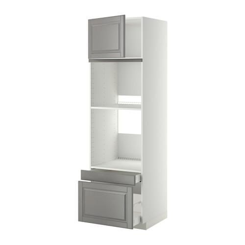 МЕТОД / МАКСИМЕРА Выс шкаф д/дхвк/комб дхвк+двр/2ящ - 60x60x200 см, Будбин серый, белый