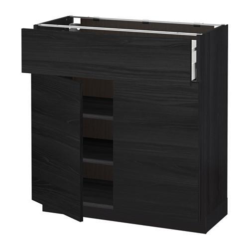 МЕТОД / МАКСИМЕРА Напольный шкаф+ящик/2дверцы - 80x37 см, Тингсрид под дерево черный, под дерево черный