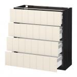 МЕТОД / МАКСИМЕРА Напольн шкаф 4 фронт панели/4 ящика - 80x37 см, Хитарп белый с оттенком, под дерево черный
