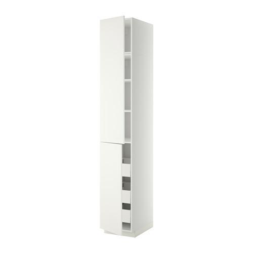 МЕТОД / МАКСИМЕРА Высокий шкаф+полки/3 ящика/2 дверцы - 40x60x240 см, Хэггеби белый, белый