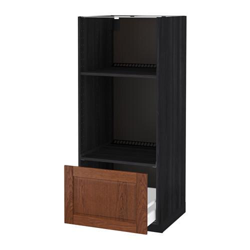 МЕТОД / МАКСИМЕРА Высокий шкаф с ящиком д/духовки/СВЧ - Филипстад коричневый, под дерево черный