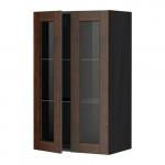 МЕТОД Навесной шкаф с полками/2 стекл дв - 60x100 см, Эдсерум под дерево коричневый, под дерево черный