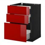 МЕТОД / ФОРВАРА Напольный шкаф с 3 ящиками - 60x60 см, Рингульт глянцевый красный, под дерево черный