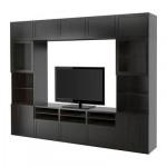 БЕСТО Шкаф для ТВ, комбин/стеклян дверцы - Ханвикен/Синдвик черно-коричневый прозрачное стекло, направляющие ящика, плавно закр