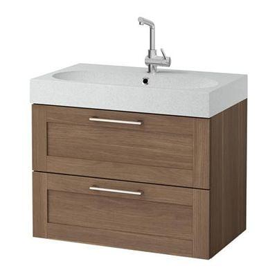 GODMORGON / Bråviken cabinet sinks with 2 drawers - walnut effect / light gray