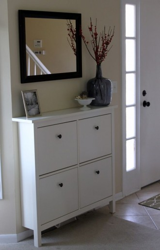 Interior hallway area with HEMNES Shoe cabinet from IKEA