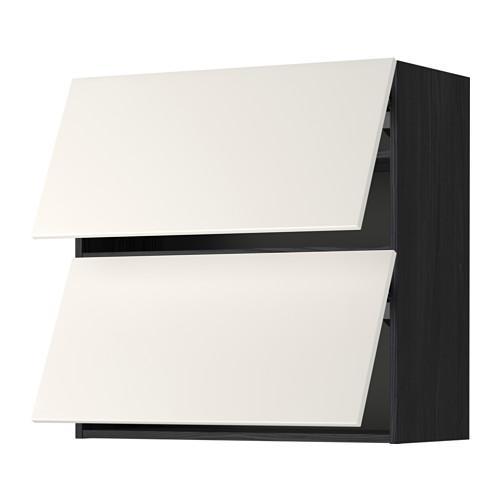 МЕТОД Навесной шкаф/2 дверцы, горизонтал - 80x80 см, Веддинге белый, под дерево черный