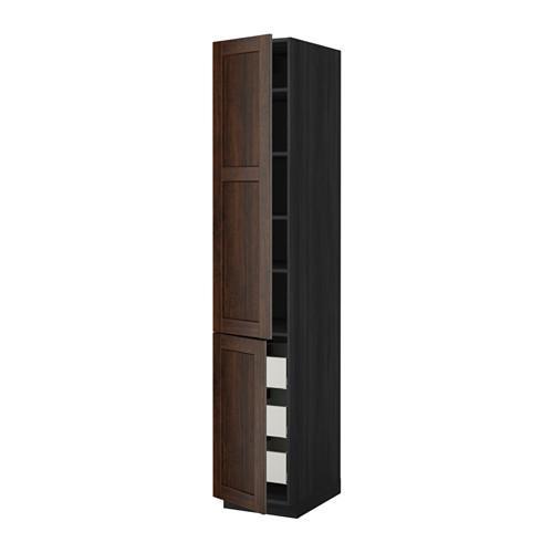 МЕТОД / МАКСИМЕРА Высокий шкаф+полки/3 ящика/2 дверцы - 40x60x220 см, Эдсерум под дерево коричневый, под дерево черный