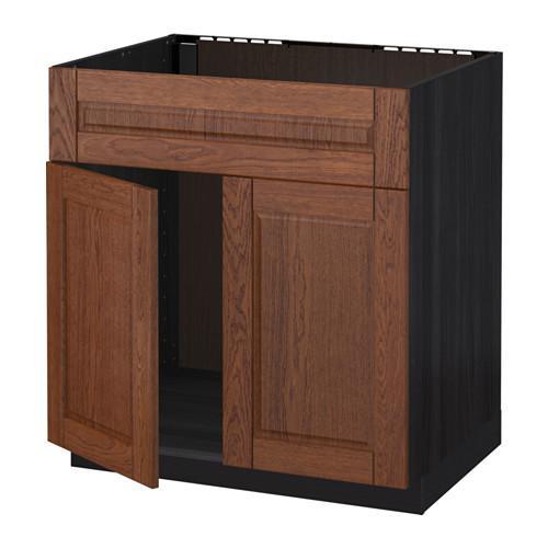 МЕТОД Напольн шкаф п-мойку 2 двр/фрн пнл - Филипстад коричневый, под дерево черный