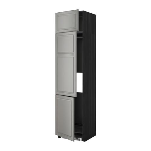 МЕТОД Выс шкаф для хол/мороз с 3 дверями - 60x60x240 см, Будбин серый, под дерево черный