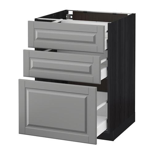 МЕТОД / МАКСИМЕРА Напольный шкаф с 3 ящиками - 60x60 см, Будбин серый, под дерево черный