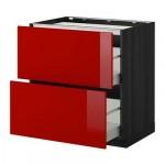МЕТОД / МАКСИМЕРА Напольн шкаф/2фронт пнл/3ящика - 80x60 см, Рингульт глянцевый красный, под дерево черный