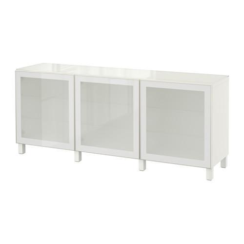 БЕСТО Комбинация для хранения с дверцами - белый/Глассвик белый прозрачное стекло