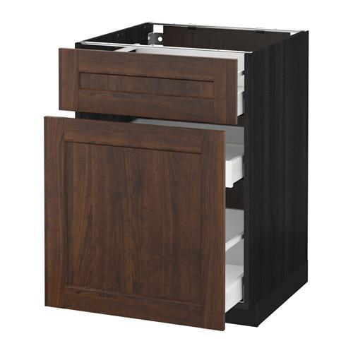 МЕТОД / МАКСИМЕРА Напольн шкаф/выдвижн секц/ящик - 60x60 см, Эдсерум под дерево коричневый, под дерево черный