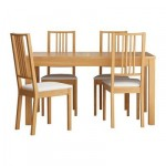 BYURSTA / Börje table and chairs 4 - oak / Gobo white, 140 see