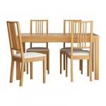 БЬЮРСТА/БЁРЬЕ Стол и 4 стула - , дуб/Гобо белый, 140 см