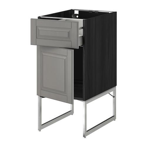 МЕТОД / МАКСИМЕРА Напольный шкаф с ящиком/дверью - 40x60x60 см, Будбин серый, под дерево черный