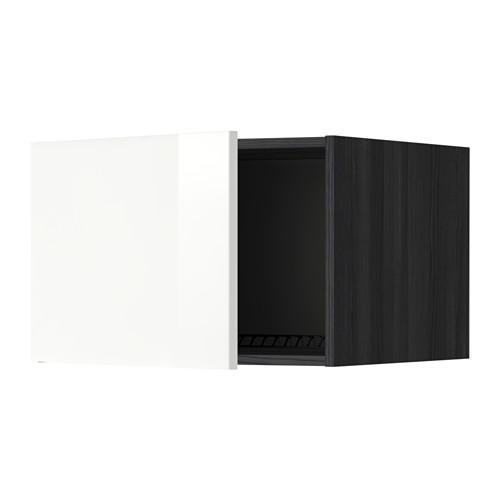 МЕТОД Верх шкаф на холодильн/морозильн - 60x40 см, Рингульт глянцевый белый, под дерево черный