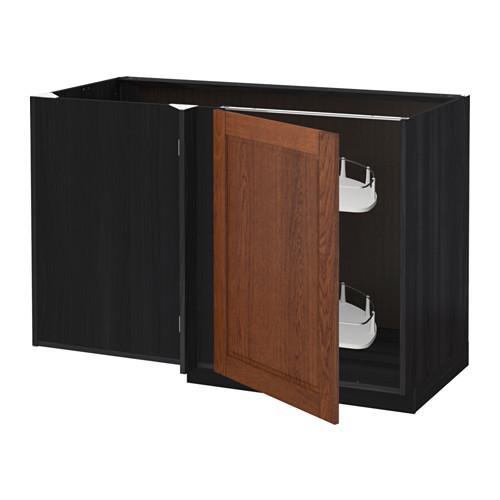 МЕТОД Угловой напол шкаф с выдвижн секц - Филипстад коричневый, под дерево черный