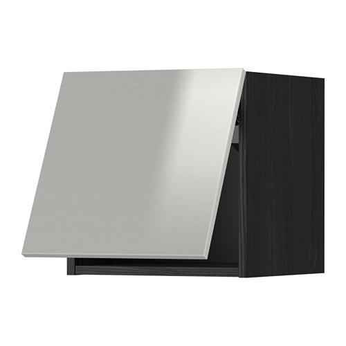 МЕТОД Горизонтальный навесной шкаф - 40x40 см, Гревста нержавеющ сталь, под дерево черный