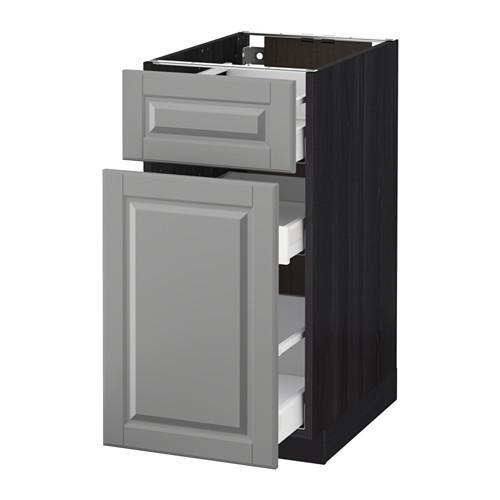 МЕТОД / МАКСИМЕРА Напольн шкаф/выдвижн секц/ящик - 40x60 см, Будбин серый, под дерево черный