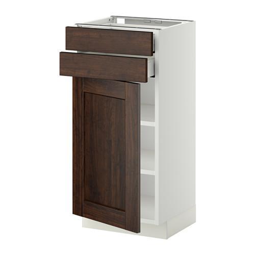 МЕТОД / МАКСИМЕРА Напольный шкаф с дверцей/2 ящиками - 40x37 см, Эдсерум под дерево коричневый, белый