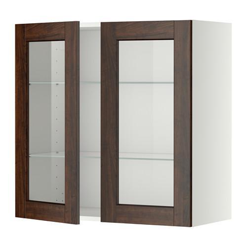 МЕТОД Навесной шкаф с полками/2 стекл дв - 80x80 см, Эдсерум под дерево коричневый, белый