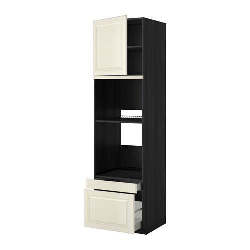 МЕТОД / МАКСИМЕРА Выс шкаф д/дхвк/комб дхвк+двр/2ящ - 60x60x220 см, Будбин белый с оттенком, под дерево черный