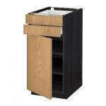 МЕТОД / МАКСИМЕРА Напольный шкаф с дверцей/2 ящиками - 40x60 см, Экестад дуб, под дерево черный