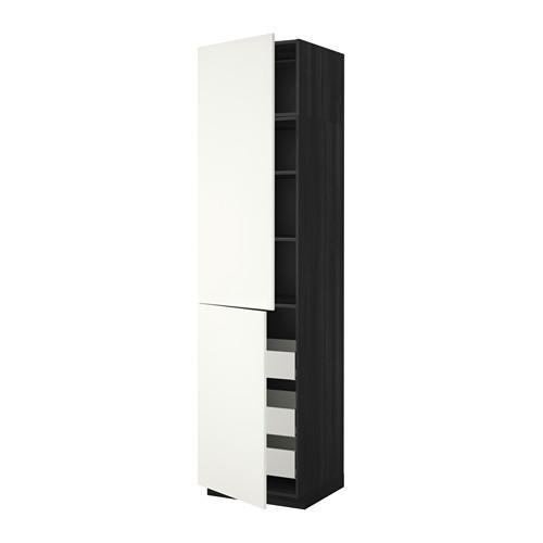 МЕТОД / МАКСИМЕРА Высокий шкаф+полки/3 ящика/2 дверцы - 60x60x240 см, Хэггеби белый, под дерево черный