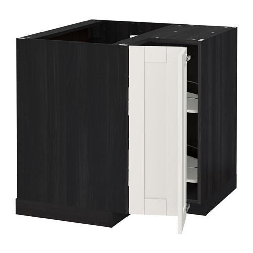 МЕТОД Угл напольн шкаф с вращающ секц - Сэведаль белый, под дерево черный