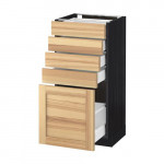 МЕТОД / МАКСИМЕРА Напольный шкаф с 5 ящиками - под дерево черный, Торхэмн естественный ясень, 40x37 см