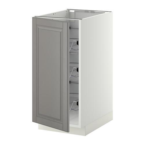 МЕТОД Напольный шкаф с проволочн ящиками - 40x60 см, Будбин серый, белый