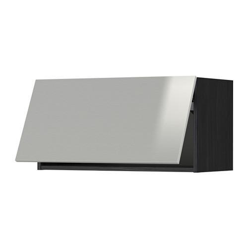 МЕТОД Горизонтальный навесной шкаф - 80x40 см, Гревста нержавеющ сталь, под дерево черный