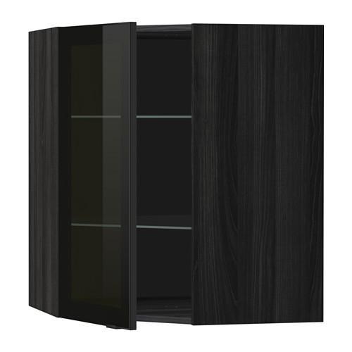 МЕТОД Углов навесн шк с полками/сткл дв - 68x80 см, Ютис дымчатое стекло/черный, под дерево черный