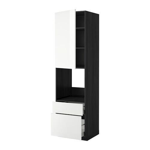 МЕТОД / МАКСИМЕРА Высок шкаф д духов+дверь/2 ящика - под дерево черный, Рингульт глянцевый белый, 60x60x220 см
