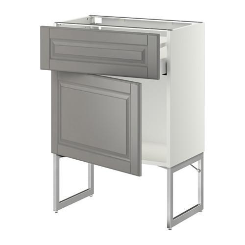 МЕТОД / МАКСИМЕРА Напольный шкаф с ящиком/дверью - 60x37x60 см, Будбин серый, белый