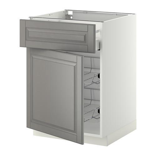 МЕТОД / МАКСИМЕРА Напольн шкаф с пров корз/ящ/дверью - 60x60 см, Будбин серый, белый