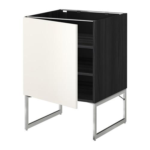 МЕТОД Напольный шкаф с полками - 60x60x60 см, Веддинге белый, под дерево черный