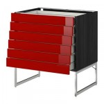 МЕТОД / МАКСИМЕРА Напольн шкаф 6фронт пнл/6 низ ящ - 80x60x60 см, Рингульт глянцевый красный, под дерево черный
