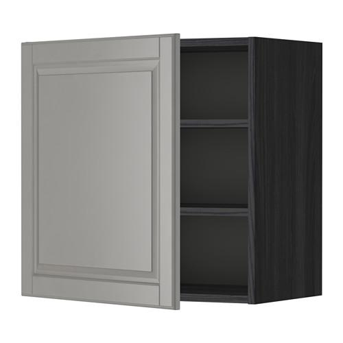 МЕТОД Шкаф навесной с полкой - 60x60 см, Будбин серый, под дерево черный