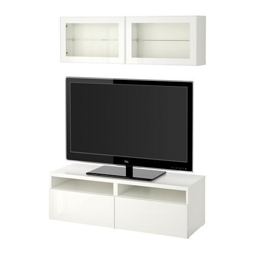 Besta moble de televisió, COMBINAT / porta de vidre - blanc / Selsviken brillantor / de vidre transparent blanc, rails de la caixa, empènyer