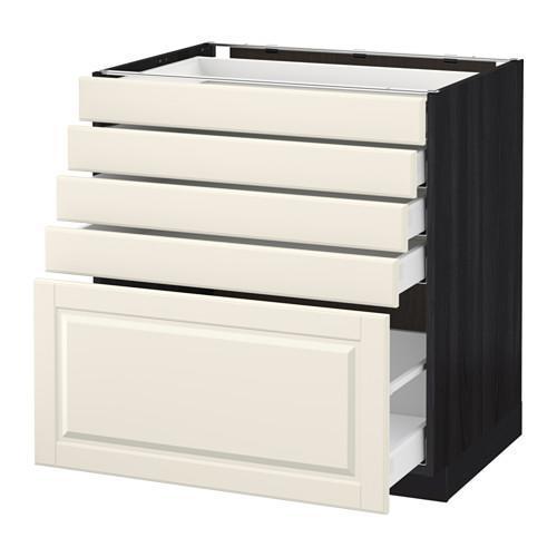 МЕТОД / МАКСИМЕРА Напольный шкаф с 5 ящиками - 80x60 см, Будбин белый с оттенком, под дерево черный
