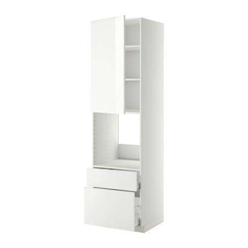 МЕТОД / МАКСИМЕРА Высок шкаф д духов+дверь/2 ящика - 60x60x220 см, Рингульт глянцевый белый, белый